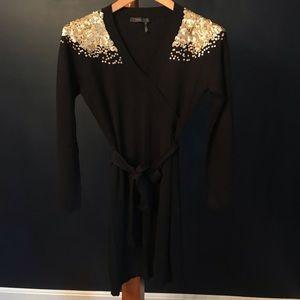 THML Black Sweater Dress w/ Gold Sequins